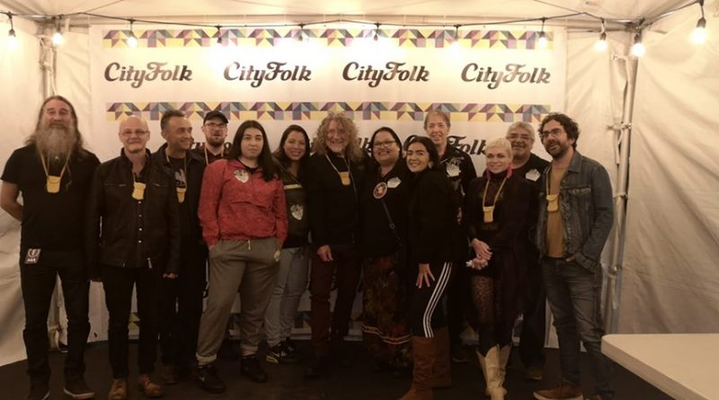 Robert Plant Visits With Anishinabeg Grand Chief Verna Polson at CityFolk